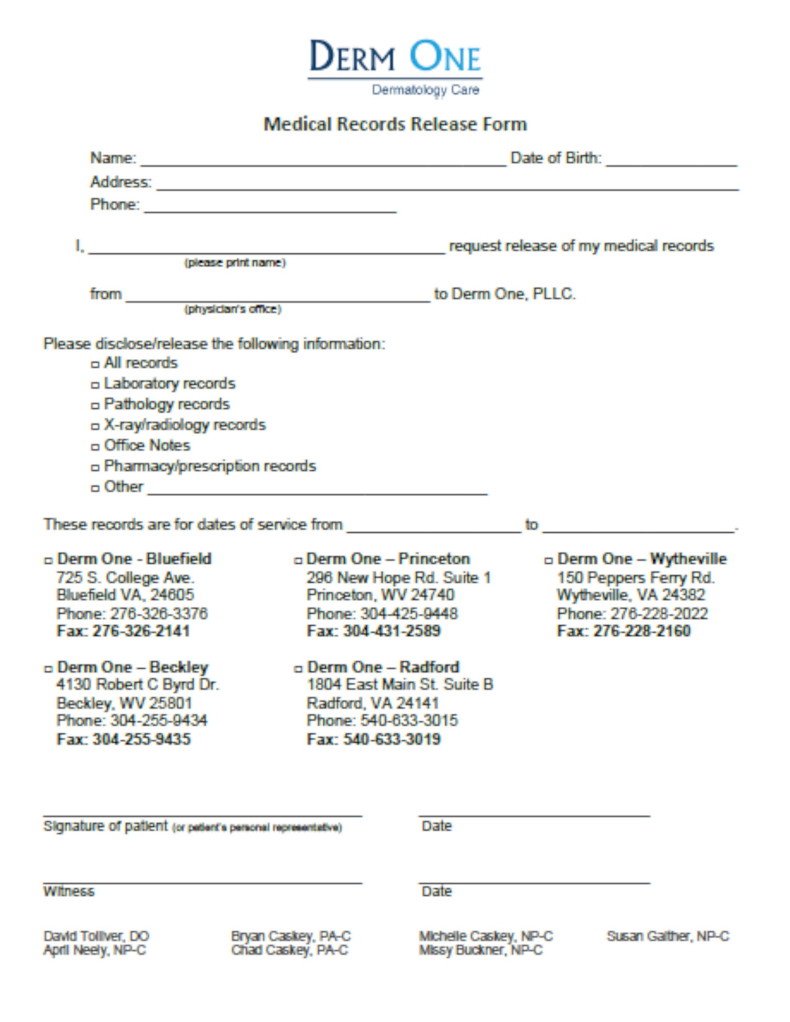 REGISTRATION FORMS – Derm One, PLLC