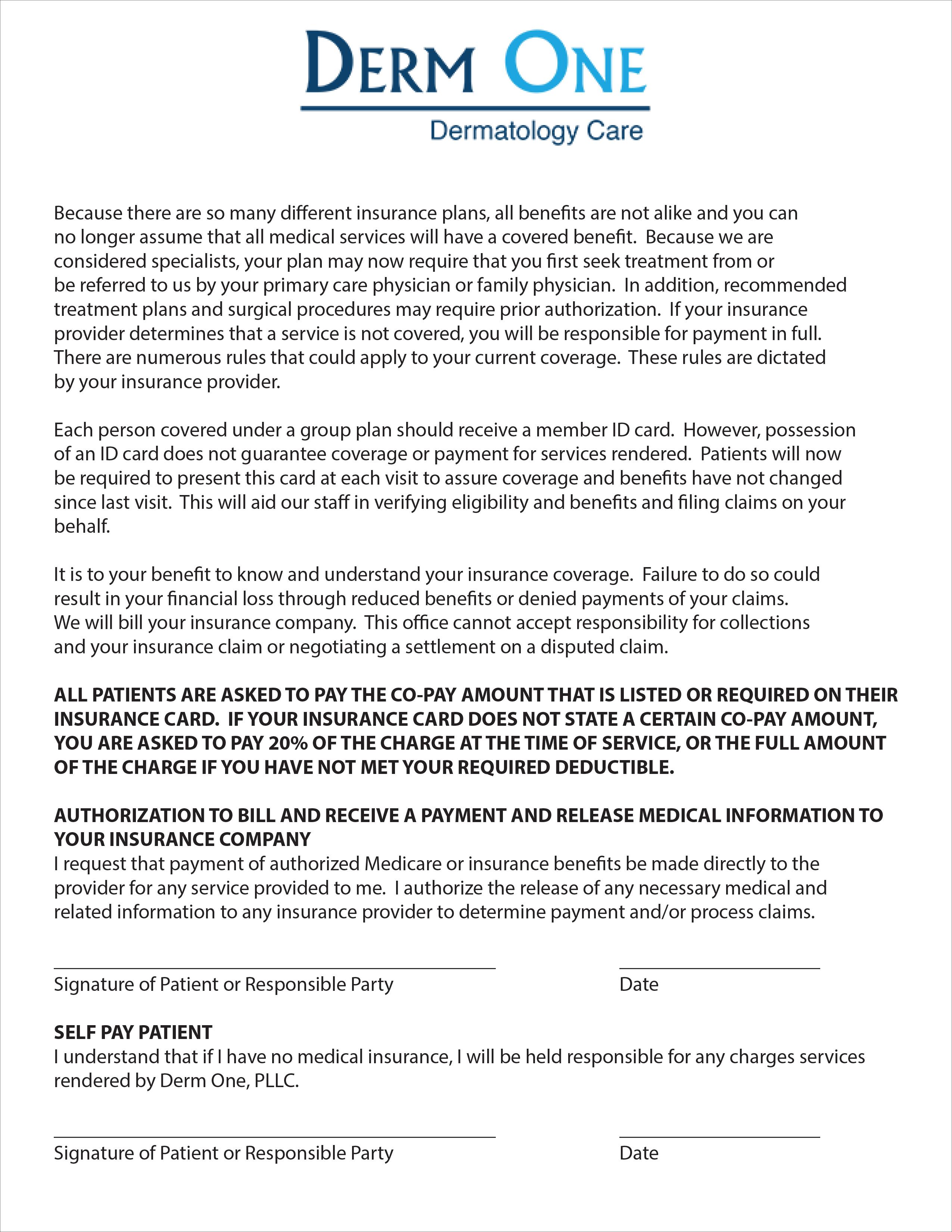 New Patient Paperwork – Derm One, PLLC